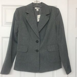 Gray 2 button blazer jacket career Sz 6 NWT